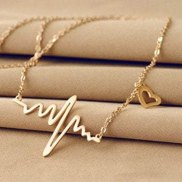 Ecg Necklace Love Shaped Titanium Steel Heartbeat Lockbone Chain Heart Pendant Necklace Female Retro Necklace Jewelry Accessorie