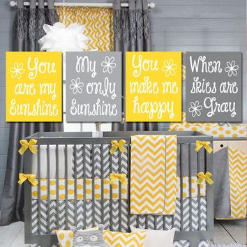 Yellow Gray You Are My Sunshine Wall Art, CANVAS or Prints Baby Girl Nursery Decor, Song Rhyme Quote Decor, Girl Bedroom Pictures Set of 4