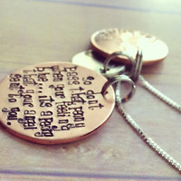 Pennies from heaven hand stamped necklace, penny charm , wings and halo charm, pennies from heaven poem