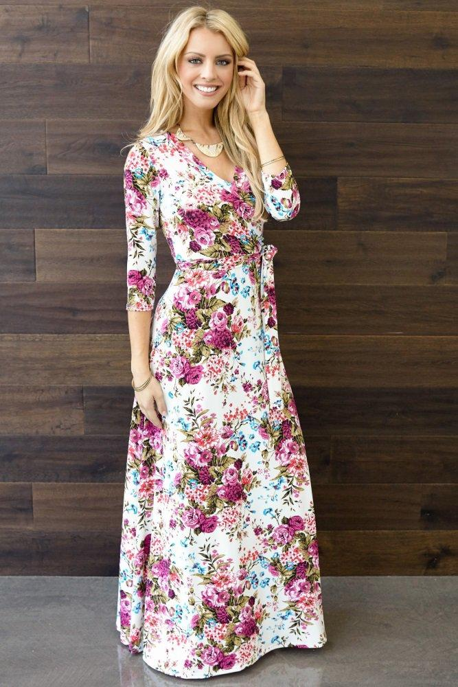 dc2c2884cd4 Ivory-Floral-Draped-3 4-Sleeve-Maternity- from PinkBlush