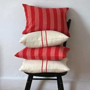 French Ticking Pillow Red and Pink Stripes by jillbent on Etsy