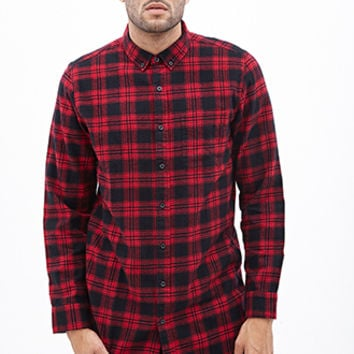 Longline Plaid Flannel Shirt Red/Black