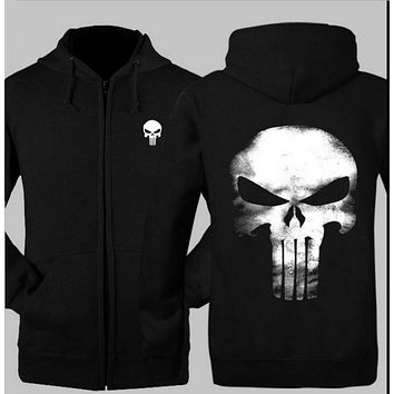 The Punisher Skull men hoodies 2017 hot sale spring autumn men sweatshirt coat tracksuit hip hop streerwear hoodie men jacket