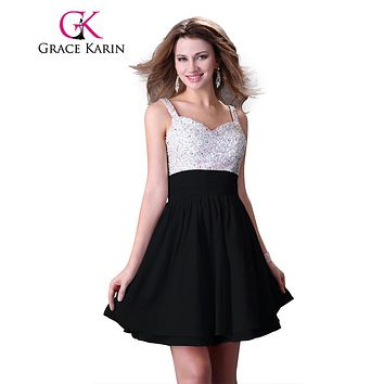 Black Dress Grace Karin 2017 Sexy Short Bling Sequins Beading Cocktail Dresses High Low Party Gown robe de cocktail Clearance