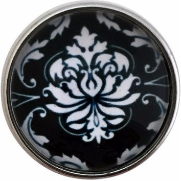 Black-White Damask Snap 20mm for Snap Jewelry