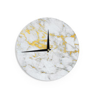 "KESS Original ""Gold Flake"" Marble Metal Wall Clock"