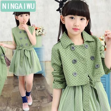 New arrive autumn girls dresses of Children's short coat + dress two-piece  girl princess leisure clothes boutique 6 - 14 years