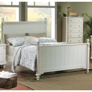 Homelegance Pottery Panel Bed in White