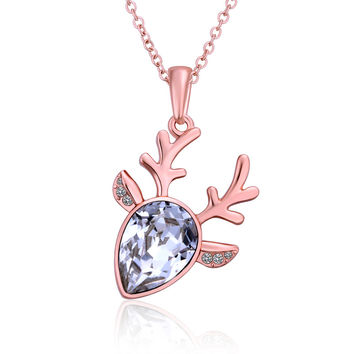White Crystal Deer Rose Gold Plated Necklace