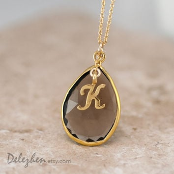 Personalized Necklace - Smokey Quartz Necklace - Script Letter - Monogram Necklace - Gold Necklace - Personalized Jewelry
