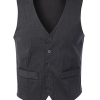 LE3NO Mens Tailored Button Down Vest With Stretch (CLEARANCE)