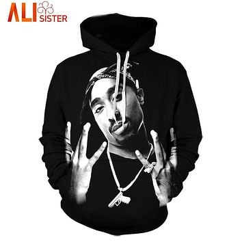 Alisister Men's Hip Hop 3D Hoodie Sweatshirt Character Print Tupac 2Pac Long Sleeves Hoodies Pullover Black Clothing Dropship