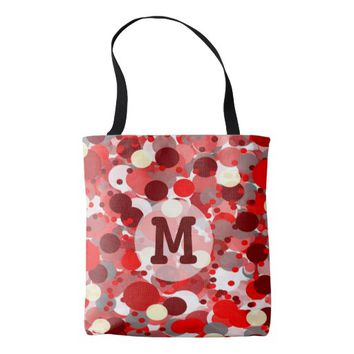 Shades of Red Bubbles Pattern with Monogram Tote Bag