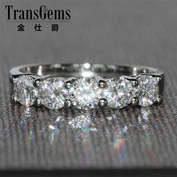 TransGems 1.25 CTW Carat 4MM FGH Color Lab Grown Moissanite Diamond Wedding Band Solid 14K White Gold Half Eternity for Women