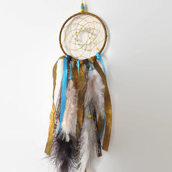"4 "" Gold Dreamcatcher, Small Dream Catcher. Southwest Decor. Native American."