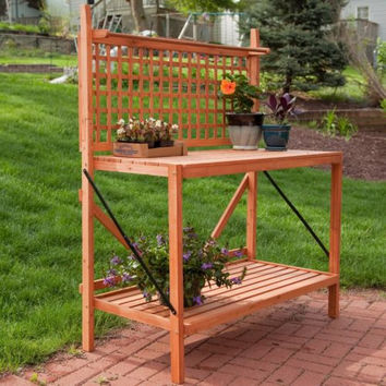 Bench Foldable Potting Garden Planting Station Table Home Outdoor Wood Wooden