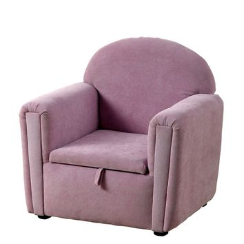 CM6005PR Ginny collection purple flannelette fabric upholstered storage under seat kids size chair