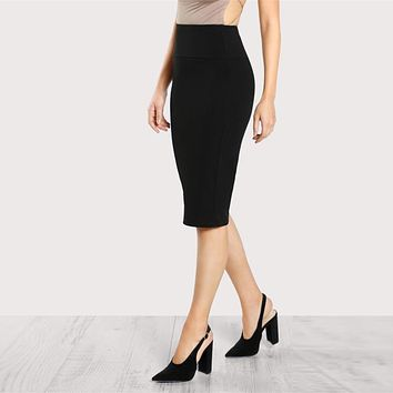 Office Ladies Pencil Skirt Mid Elastic Waist Knee Length Plain Skirt Women Work Wear Elegant Skirt