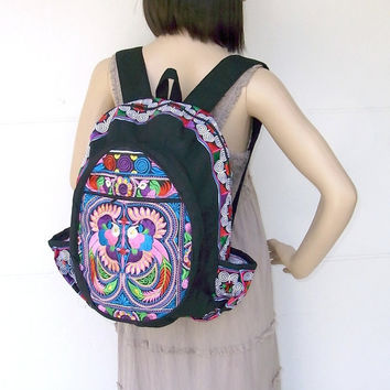 0d886e3c1 Candy Birds Backpack Book Bag Handmade HMONG Village Fabric Fair Trade  Thailand (BG125-MUB