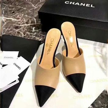 CHANEL counter models 2018 summer women's fashion trend slippers high heels F-ALS-XZ Apricot