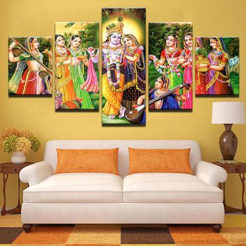 Modern Prints Canvas Pictures For Living Room Wall Art 5 Pieces India Myth Lord Krishna Painting Poster Home Decor Framed