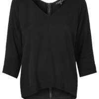 TALL Crepe V-Neck Top - Black