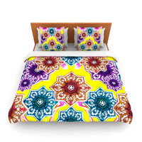 "Fernanda Sternieri ""Flower Power"" Yellow Floral Lightweight Duvet Cover"