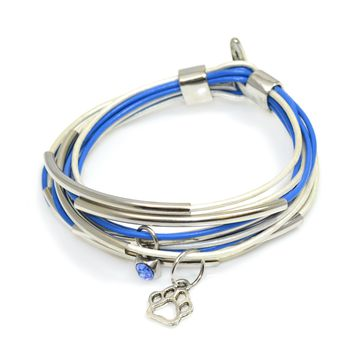 Blue and White Leather Wrap Bracelet with Silver Tube Beads and Clasp