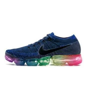 Nike Air Max VaporMax Flyknit Men Women Running Shoes Navy Blue Rainbow Soles G-FEU-SY