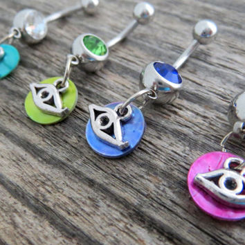 Small Evil Eye Belly Ring with Shimmery Shell - Cutest Belly Ring EVER :) Stainless Steel Barbell - Small Belly Button Ring Dangle