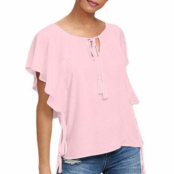 Pink Butterfly Sleeve Top with Tasseled Ties