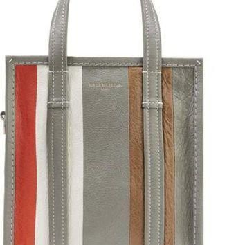 ONETOW balenciaga bazar xs striped leather tote 2