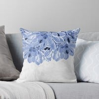 'Elegant Blue Flowers Design' Throw Pillow by oursunnycdays