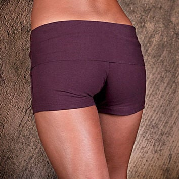 Womens Shorts - Yoga Shorts - Hot Pants - Yoga Clothing - Activewear - Organic Cotton Shorts Plum