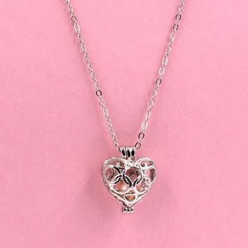 Pearl Cage Pendant Angel Heart love Fun Gift akoya oyster metal chain necklace(Nickel Free)