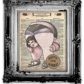 CIRCUS FREAKS Dictionary Art Print Antique by FoxHunterStudios
