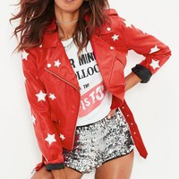 Missguided - Red Star Applique Faux Leather Biker Jacket