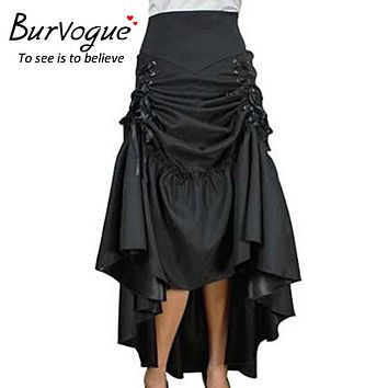 Burvogue Plus Size Skirt Steampunk High Waist Skirts Fashion Long Maxi Skirts Black Three Tiered Satin Gothic Steampunk Skirts