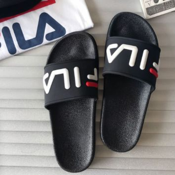 FILA 2018 men's and women's couples trendy fashion wild slippers F0444-1 Black