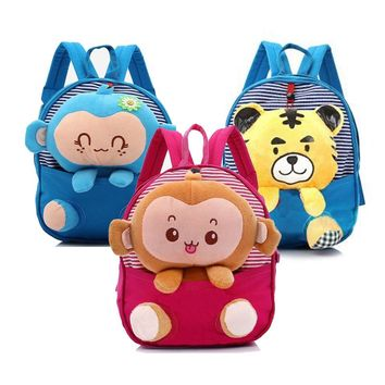 New Cute Kids School Bags Cartoon Monkey Tiger Dolls Soft Cotton Backpack Mini Baby Toddler Book Bag For Kindergarten Boys Girls