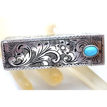 Italian 800 Silver Lipstick Holder with Turquoise