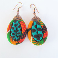 colorful earrings/ fabric earrings/ dangling earrings