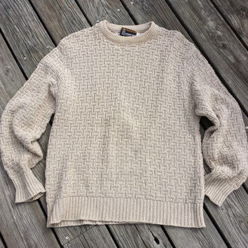 Vintage Mens LONDON FOG Fisherman Cable Knit Sweater - Oatmeal Beige - USA - Size M