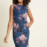 Sassy and You Know It Sheath Dress in Navy