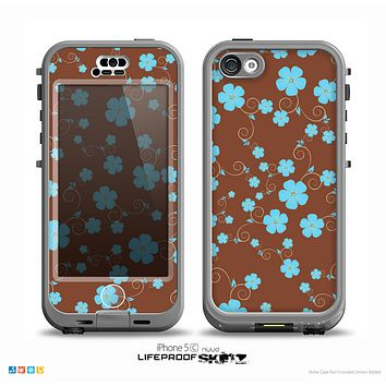 The Brown and Blue Floral Layout Skin for the iPhone 5c nüüd LifeProof Case