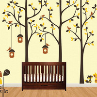 Tree with birds Wall Decal. Wall Sticker. Vinil wall decal. Birch trees. K003
