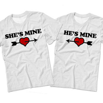 BUNDLE DEAL | Couples Valentine's Day Matching T Shirts | She's Mine & He's Mine Matching Valentines Shirts | Cute Couples Gift