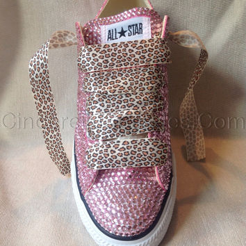Diamante Crystal Covered Converse Wedding Prom Shoes Trainers Custom Made Pink