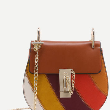 Color Block Faux Leather Flap Saddle Bag With Chain | MakeMeChic.COM