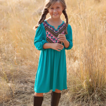 Girls Boho Tunic Dress Teal